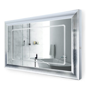 LED Lighted Silver Frame Bathroom Mirror With Defogger