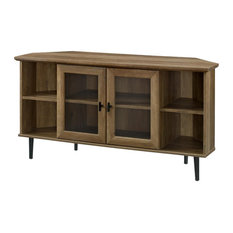 48-inch Simple Glass Door Corner TV Console - Reclaimed Barnwood
