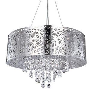Ashley Chrome Ceiling Pendant with Glass Droplets, 9 Light