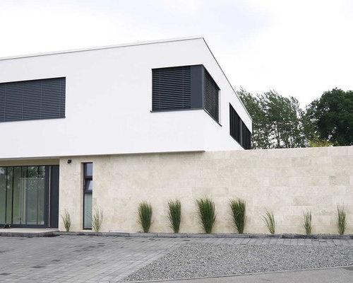 Moderne architektur natursteinfassade aus travertin for Moderne architektur