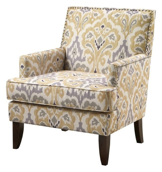 Colton Track Contemporary Gray, Gold Ikat Arm Chair With Nail Heads