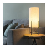 Table Lamp Rich Black with Off White Shade