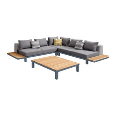 Armen Living - Polo 4-Piece Outdoor Sectional Set, Dark Gray - Outdoor Lounge Sets