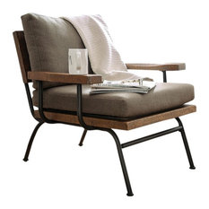 Fabric Upholstered Accent Chair,, Brown and Black