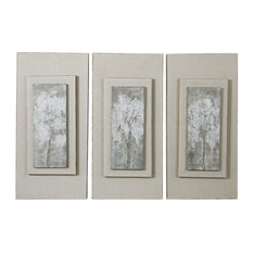 Uttermost, Set of 3 Triptych Trees Hand Painted Art