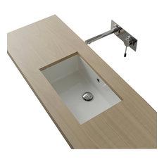 Rectangular White Ceramic Undermount Sink, No Hole