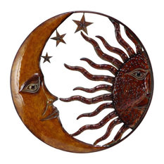 Woodland Imports Metal Sun Moon Wall Decor With Antique Brown Look