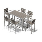 Medici 7 Pc Aluminum Outdoor Patio Furniture Dining Bar Table and barstool Set