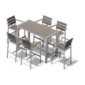 Medici 7 Pc Aluminum Outdoor Patio Furniture Dining Bar Table and barstool Set