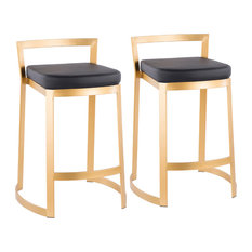LumiSource Fuji DLX Counter Stool Gold Metal Set Of 2 Black Pu