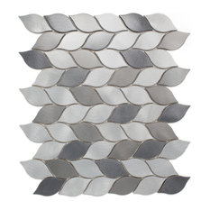 """11.5""""x13.88"""" Colette Aluminum Mosaic Tile Sheet, Silver and Gray"""