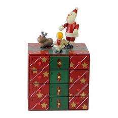 "10"" Red and Green Decorative Elegant Advent Storage Calendar Box"