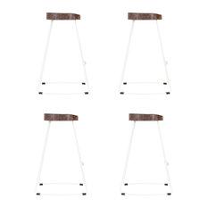 Stockholm Stool, Wood Top, Metal Base, White, 65 cm, Set of 4