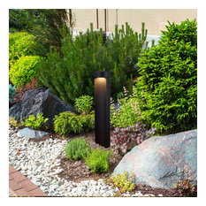 "24"" Modern Low-Voltage 5-Watt Integrated LED Outdoor Bollard, Matt Black"