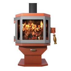 Catalyst Shimmering Rose Wood Stove with Pewter Door