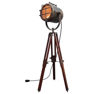 British Antique Brown Coner Argosit Floor Lamp