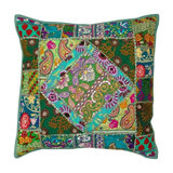 Boho Patchwork Cushion, Green, Cover Only