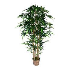 "72"" Tall Bamboo Artificial Tree Lifelike in Bamboo Wicker Planter"