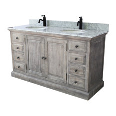"61"" Rustic Solid Fir Sink Vanity, Gray, No Faucet"
