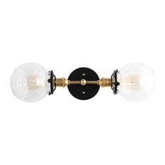 Modern Clear Globe Brass, Black Vanity Light