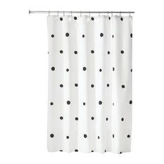 "iDesign Scattered Dot Fabric Shower Curtain, 72""x72"", White and"