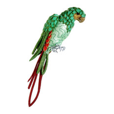 """Life Size Tropical Paradise Parrot Bird With Tail Feathers, Green and Red, 22.5"""""""