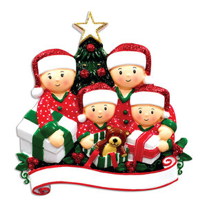 Personalized Christmas Ornaments Family Kit Opening Presents Family Of 4 Kit