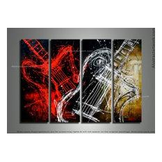 """""""Rock & Roll"""" Modern Guitar Art Painting"""