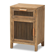 Rustic Transitional Medium Oak Finished 1-Door 1-Drawer Wood Spindle Nightstand
