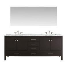 """Eviva Aberdeen 84"""" Espresso Bathroom Vanity"""