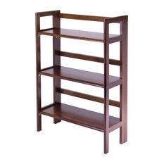 3-Tier Folding and Stackable Shelf, Antique Walnut