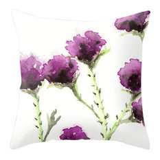 """Decorative Pillow Cover, Milk Thistle Floral, 18""""x18"""" With Insert"""