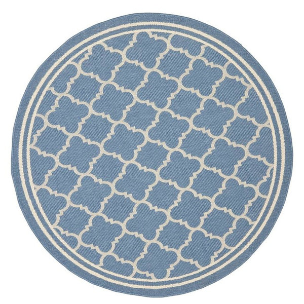 Safavieh Courtyard Cy6918-243 Blue, Beige Area Rug, 4'x4'
