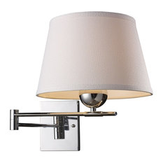 Lanza 1-Light Swing Arm Sconce, Polished Chrome With Off-White Shade