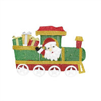 "30"" Lighted Tinsel Choo Choo Train, Santa Claus Christmas Yard Art Decoration"