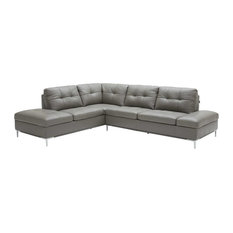 Leonardo Italian Leather Sectional Sofa In Grey Left Hand Facing Chaise