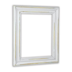 """Distressed White Picture Frame, Solid Wood, 16""""x20"""""""