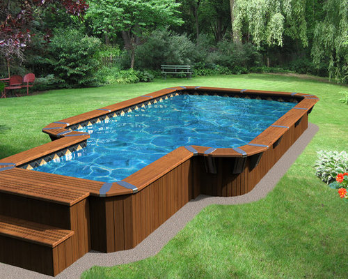 piscine rectangulaire semi creus e rectangular semi in ground pool. Black Bedroom Furniture Sets. Home Design Ideas