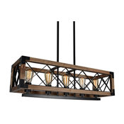 Industrial Style Chandelier, 5-Lights With Clear Glass, Antique Bronze