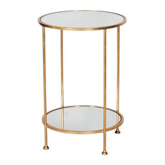 2-Tier Side Table With Mirror, Gold