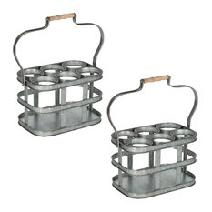 Levy Vintage Galvanized Metal 6 Bottle Carrier, Silver 2 Piece