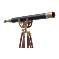 """Floor Standing Antique Brass With Leather Anchormaster Telescope 50"""""""