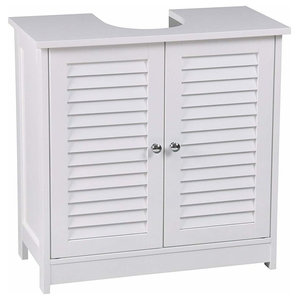 Traditional Under Sink Storage Cabinet, White MDF With 2-Door and Inner Shelf