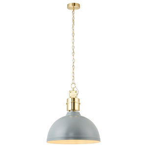 Collingham Single Pendant, 40 W, Satin Brushed Gold and Satin Stormy Grey Shade