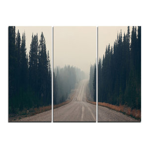 """""""Foggy Road in Forest in Banff Park"""" Wall Art, 3 Panels, 36""""x28"""""""