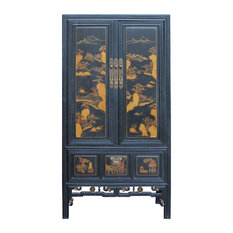 Chinese Fujian Golden Mountain Water Graphic Tall Armoire Cabinet cs4891