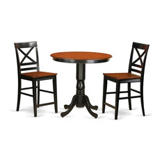 3-Piece Dining Counter Height Set Pub Table And 2 Kitchen Bar Stool