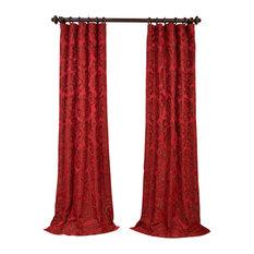 "Astoria Red & Bronze Faux Silk Jacquard Curtain Single Panel, 50""x96"""