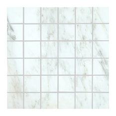 "12""x12"" MSI Arabescato Carrara Polished Marble Mosaic, Full Sheet Sample"