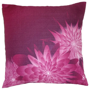 Sofa Throw Pillow 18 in x 18 in in Designart CU12015-18-18 Blue and Purple Symmetrical Fractal Flower Floral Cushion Cover for Living Room
